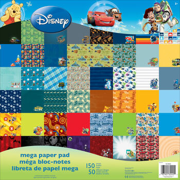 """Disney Mega Paper Pad 12""""X12"""" 150/Sheets-Boy, 50 Designs/3 Ea"""