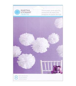 Tissue Paper Pom Pom Kit-Medium White