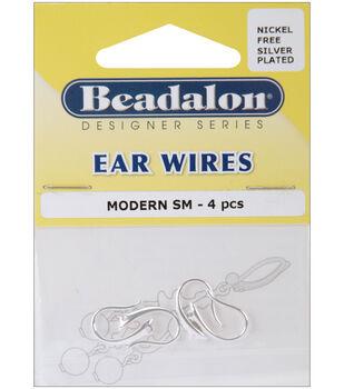Beadalon Ear Wires Modern 4PK-Silver Plated/Nickel-free