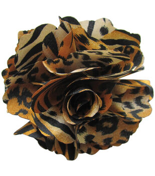 Mark Richards Fluerettes Animal Print Flower 1/Pkg-Tiger-Gold, Black, Beige