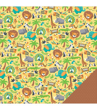 Imaginisce Family Fun Zoo Day Double-Sided Cardstock