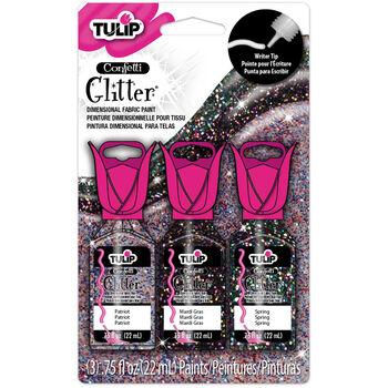 Tulip Dimensional Fabric Paint Pack .75oz 3/Pkg-Confetti