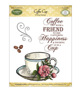 JustRite Papercraft Mini Cling Stamp Set Coffee Cup