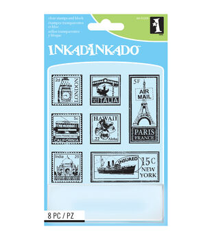 Inkadinkado Inchie Travel Postage Stamps Clear Stamp Sheet