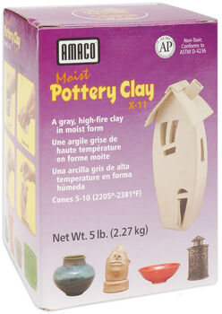 Moist Pottery Clay 5 Pounds-Gray