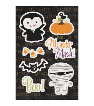 """Monster Mash Canvas Stickers 4.75""""X7""""-"""