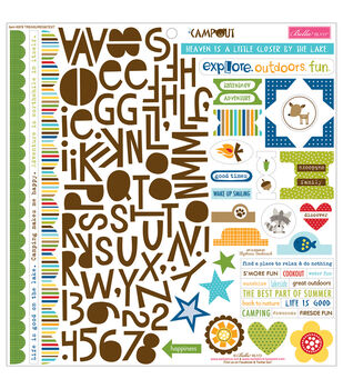 Bella Blvd Campout Treasures & Text Cardstock Stickers