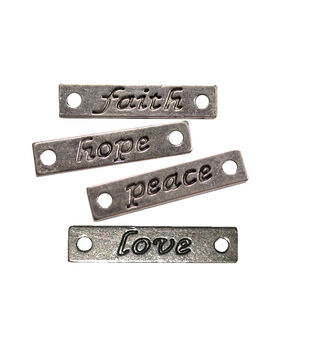 FabScraps Silver Engraved Words Faith, Hope, Peace & Love Embellishments