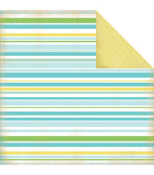 "Baby Boy Stripes - Baby Mine Boy Double-sided Cardstock 12""x12"""