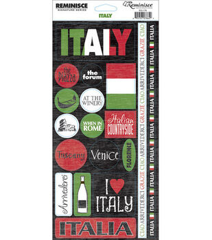 Reminisce Signature Series Travel Phrase Stickers-Italy