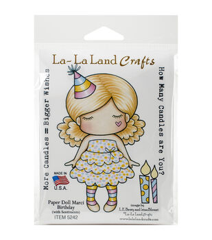 La-La Land Crafts Paper Doll Marci Birthday Cling Mount Rubber Stamps