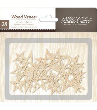 Printshop Laser-Cut Wood Veneer Shapes 28/Pkg-Stars