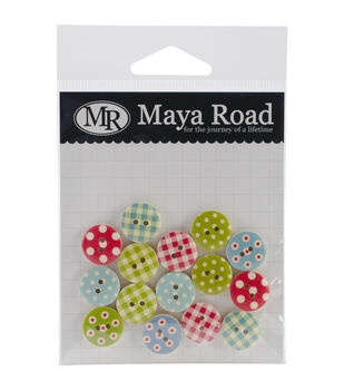Maya Road Country Fair Wood Buttons 15/Pkg