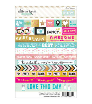 Webster's Pages #HAPPY Word Stickers 4''x6''