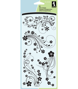 "Inkadinkado Clear Stamps 4""X8"" Sheet-Mod Flower Flourish"