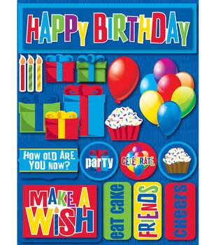 Reminsce Signature Dimensional Stickers-Birthday