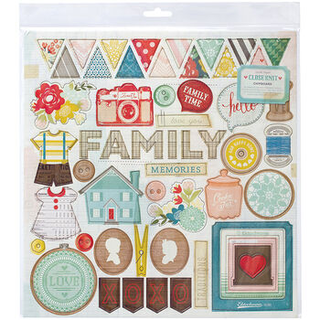 Crate Paper Close Knit Chipboard Stickers Accents & Phrases