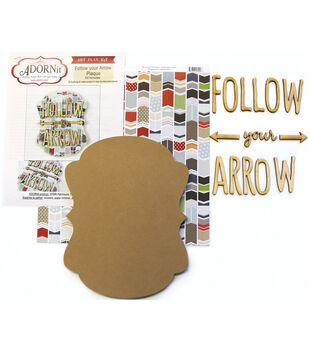 Adorn-It Art Play Follow Your Arrow MDF Word Plaque With Words Kit