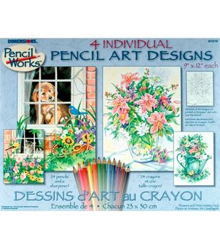 Dimensions Pencil By Number Kit Variety: Cat, Dog, Floral