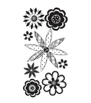 Dimensional Stickers-Black Sketch Flowers