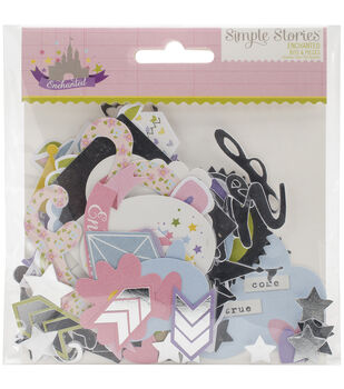 Simple Stories Enchanted Bits & Pieces Die-Cuts With Silver Accents