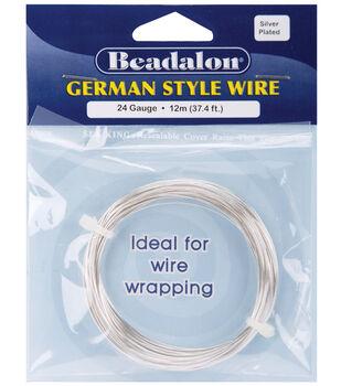 Beadalon German Style Round Wire 24 Gauge 37.4 Feet/Pkg-Silver