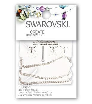 Swarkovski Bail Chain Set Crystal Ring Mesh 2pc
