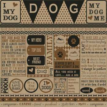 Canvas Corp Printed Kraft About A Dog Single-Sided Cardstock 12''x12''