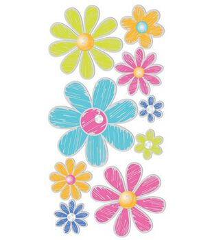 Dimensional Stickers-Metallic Flowers