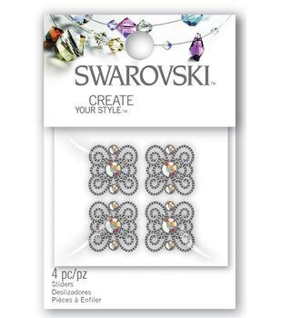 Create Your Style Swarovski Sliders-3 Stone Scroll/Crystal 4/Pk
