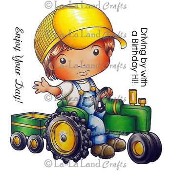 La-La Land Crafts Cling Mount Rubber Stamps Luka On Tractor