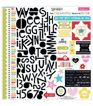 Bella Blvd Scattered Sprinkles Treasures & Text Cardstock Stickers