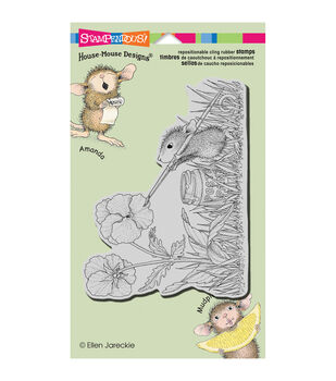 Stampendous House Mouse Painted Pansies Cling Rubber Stamp
