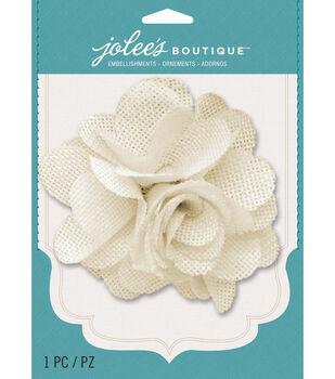 Jolee's Boutique - Cream Burlap Large Flower
