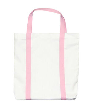 """Medium Breast Cancer Canvas Tote 13.5""""X13.5""""X2""""-White/Pink"""