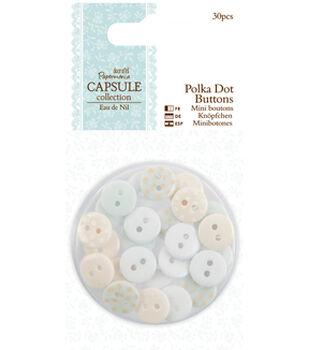Papermania Eau De Nil Polka Dot Buttons