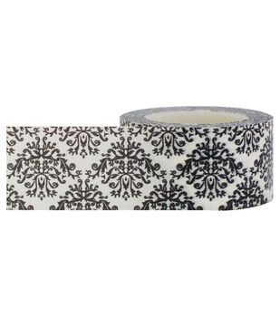 Little B Decorative paper Tape 25mmx15m-Damask Black & White