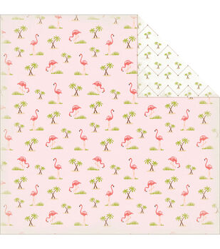 Carta Bella Summer Lovin' Flamingos Double-Sided Cardstock Paper