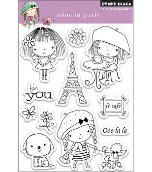 """Penny Black Clear Stamps 4""""X6"""" Sheet-Mimi In Paris"""
