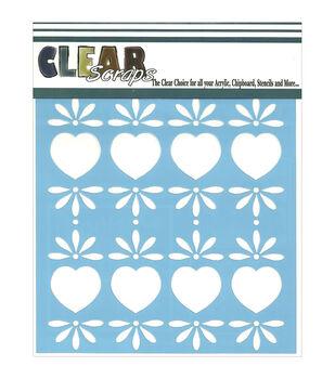 "Clear Scraps Stencils 6""X6""-Folk Hearts"