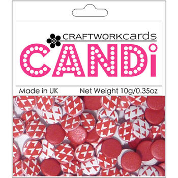 Craftwork Cards Candi Dot Printed Embellishments Cherry Red