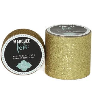 "Heidi Swapp Marquee Love Washi Tape .875""-Gold Glitter, 10'"