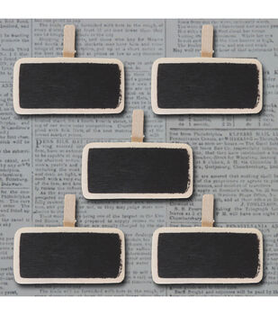 "Mini Wooden Chalkboard Clips 5/Pkg  1.1""X1.7"""