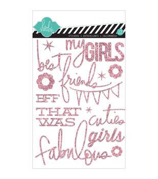 """Heidi Swapp Mixed Media Glitter Stickers 5""""X7""""-Pink, Girls"""