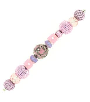 "Jesse James 7"" Strung Beads- Strand Wall 12 Pink Light"