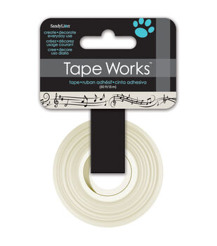 "Tape Works Tape .625""X50'-Musical Notes Tan and Black"