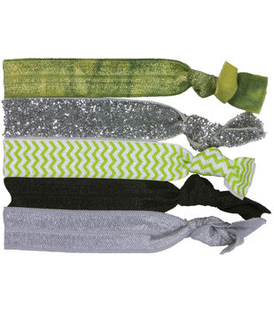 Laliberi Elastic Hair Tie Set - Green Gray Chevron Assortment