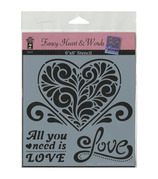 Hot Off The Press Fancy Heart & Words Stencils