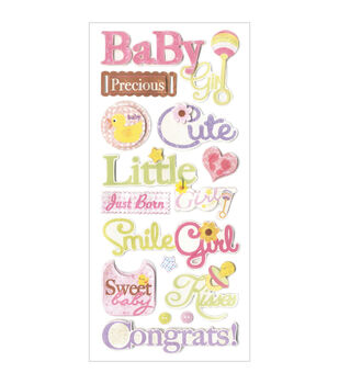 Forever In Time Baby Girl Glitter Elements Stickers Sheet