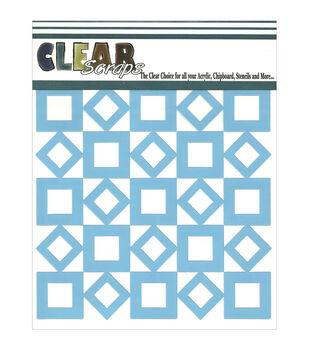 "Clear Scraps Stencils 6""X6""-Retro Squares"